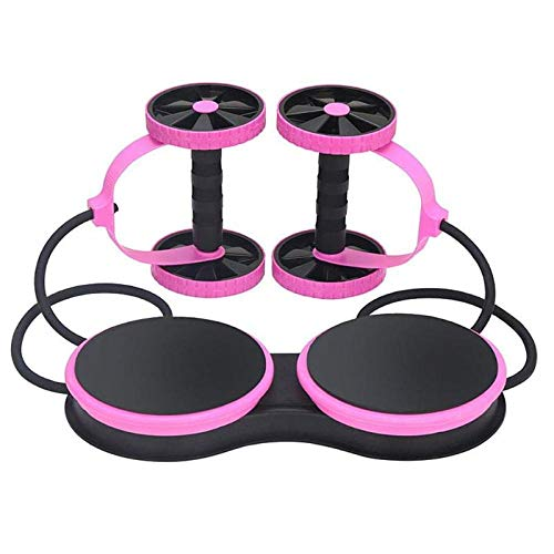 HUYHUY Abnehmen Rollenrad Rad Bauch Trainer Rad Multifunktionale Arm Taille Bein Übung Fitness Widerstand Zugseil Ausrüstung-Pink