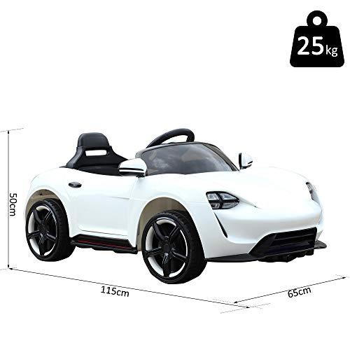 RC Auto kaufen Kinderauto Bild 5: HOMCOM Kinderauto Elektroauto Kinderfahrzeug Kinderwagen mit Fernbedienung Weiß L115 x B65 x H50 cm*