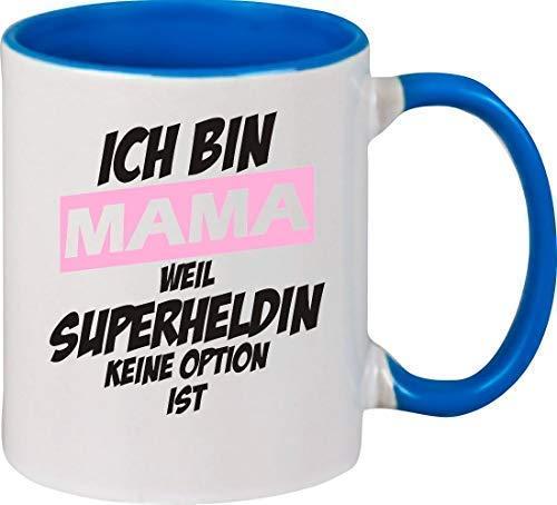 Shirtstown - Taza de café, diseño con texto en alemán 'Ich Bin Mama Weil Superheldin Keine Option ist, Tasse Pott Kaffeetasse Teetasse Spardose Emaille Tasse Bierkrug Schnapsglas Spruch Sprüche Logo Familie Freunde Liebe', cerámica, azul claro, 375 ml