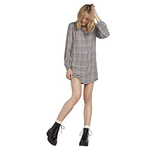 Volcom Women's Junior's Fad Friend Mini Shirt Dress, Black Plaid, Extra Small