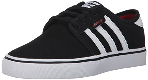 adidas Originals unisex child Seeley Running Shoe, Core Black, Ftwr White, Scarlet, 2 Little Kid US