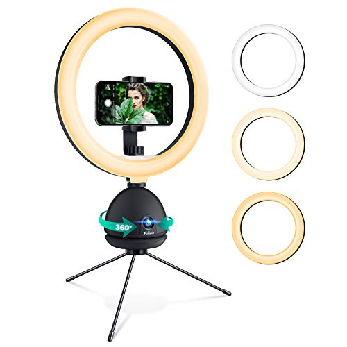 Tracking Camera with Ring Light: Foxnovo Auto Face Tracking Tripod Dimmable Beauty Camera Ringlight with 11 Level Brightness Selfie Ring Light & Phone Holder for iPhone | Makeup| YouTube | Videos