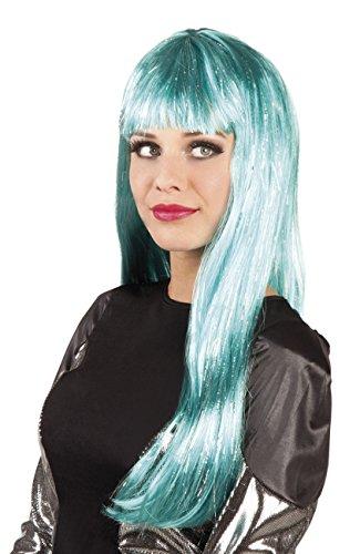 Boland 86294 pruik voor volwassenen Glamour met lametta, turquoise, één maat