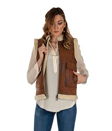 GQuadro jack voor dames van leer Montone vest ID167 Made in Italy