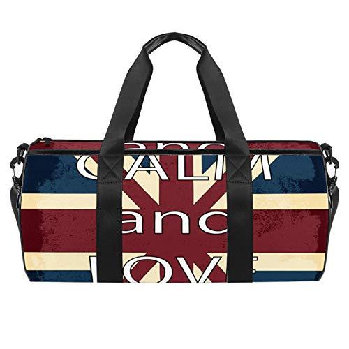 Borsone cilindrico da viaggio con bandiera dell'Inghilterra con scritta 'Keep Calm And Love' e borsa da palestra con tasca bagnata, leggera borsa da viaggio con tracolla per uomini e donne