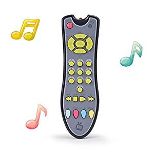 [Music and Sound Remote]--This TV remote control toy include soft light and playing realistic sound, help strengthen important senses like sight and hearing. Inspire early role play fun. [Educational Learning Toy]--The remote control toy is also an e...