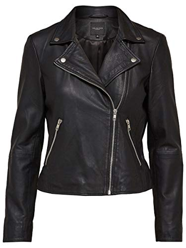 SELECTED FEMME Damen SFMARLEN Leather Jacket NOOS Jacke, Schwarz (Black), 40