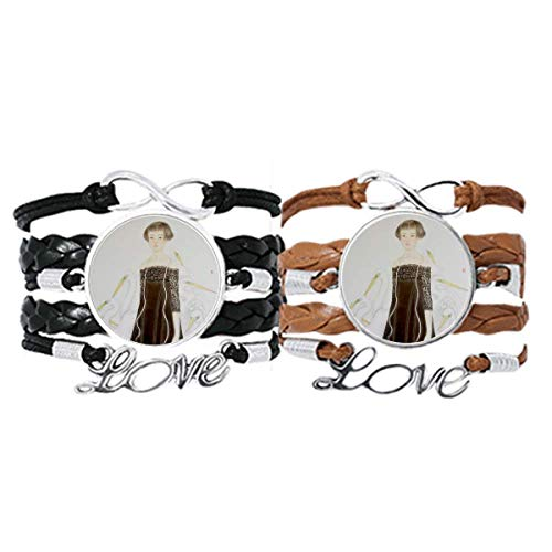 DIYthinker Beauty Egrets Chinese Style Watercolor Bracelet Hand Strap Leather Rope Wristband Double Set Gift