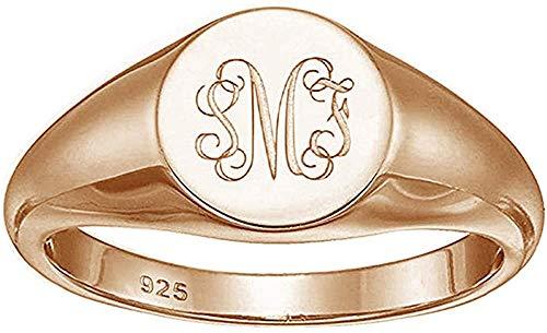Personalised Signet Ring Customised Monogram Jewelry Engravable Sterling Silver Rings for Girls Men Women Customise Initial Letter Custom 3 Letters