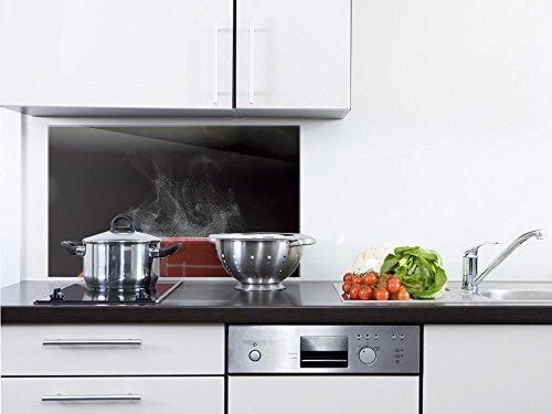GRAZDesign Spritzschutz Küche Herd Dampfende Tasse - Wandpaneele Schwarz/Rot - Küchenrückwand Glas Küchenbilder / 80x40cm