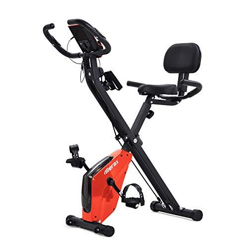Merax X Bike Heimtrainer mit Pulssensoren, Fitnessrad f¨¹r Heimtrainer, mit LCD-Konsole & Zugbandsystem,Hometrainer Fahrrad mit Komfortsitz & Handpulssensoren,Handyhalterung,bis 135 kg belastbar