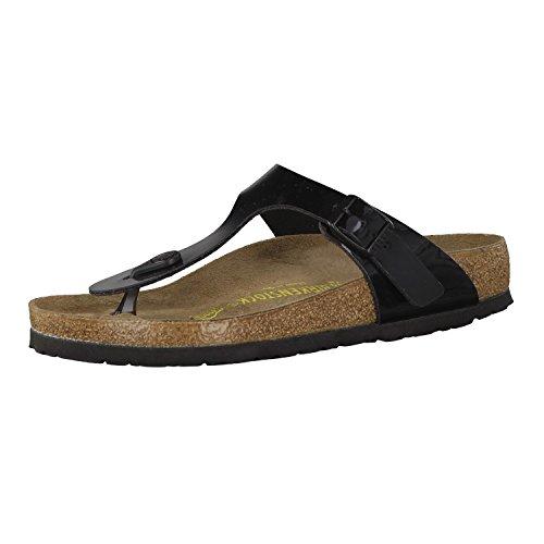 Birkenstock Gizeh Birko Flor Patent Sandales Noires Pour Femmes-EU 38