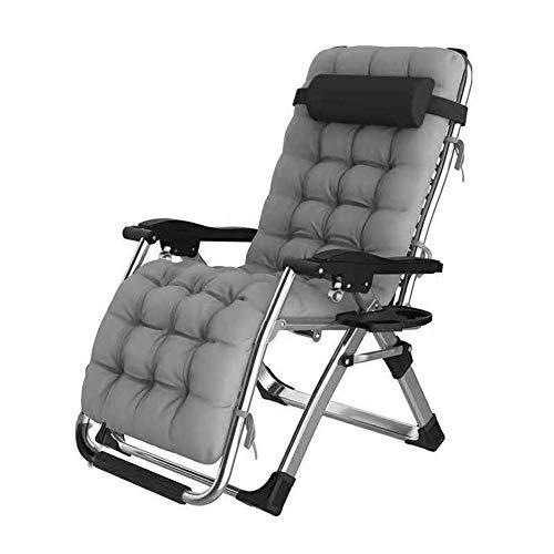 WJXBoos Tumbona reclinable para reclinable al Aire Libre Plegable de Gravedad Cero Adecuado para jardín, Patio, Piscina, etc. Silla multifunción 65x75x115cm (Color: Gris)