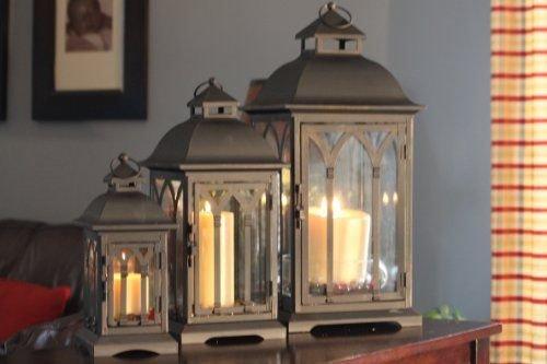 Set of 3 Metal Candle Lanterns - Bronze