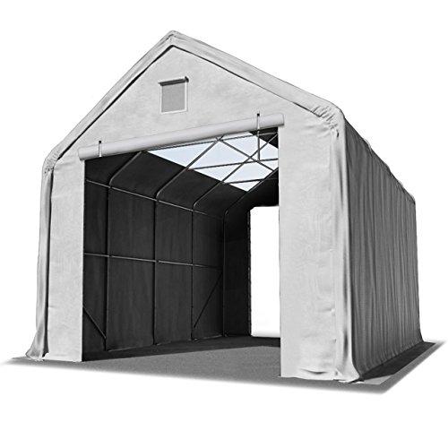 TOOLPORT Lagerhalle 4x8 m/Seitenhöhe 3m in grau Weidezelt mit Oberlichtern Industriezelt feuersichere 720g/m² PVC Plane