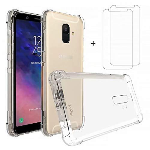 DYGG kompatibel mit hülle TPU Gel für Samsung Galaxy A6 Hülle Handyhülle Luftkissen Weich TPU Silikon Schale Durchsichtige Schutzhülle Handy Case+2*Displayschutzfolie