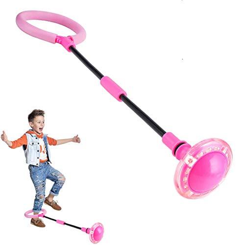 Q-WOOFF Kinder Blinkender Springring, Sport Sprungball,Faltbarer Flash Jumping Ball, Geeignet Für Geschicklichkeitsspiele Für Kinder Oder Erwachsene, Übung (Rosa)