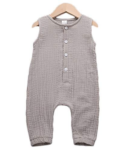 FAROOT Unisex Baby Girls Boys Cotton Linen Overall Ribbed Jumpsuit Bodysuit Outfit Fall Long Sleeve Fashion Winter Clothes (6-12m, Light Grey)