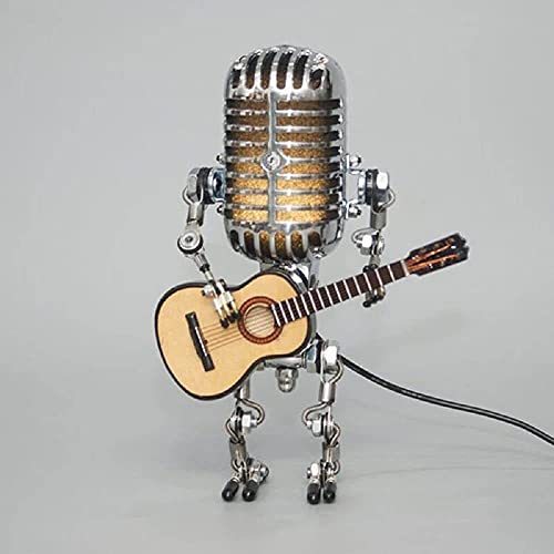 Youehsent Vintage Microphone Robot Desk Lamp Night Light Touch Dimmer Lamp Table Lamp with Guitar for Bedroom, Living Room, Office (Yellow)