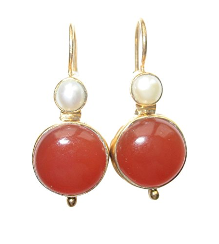 Elegante Carneol-Ohrringe rot-braun groß Hänger Haken verschließbar Silber vergoldet kleine...