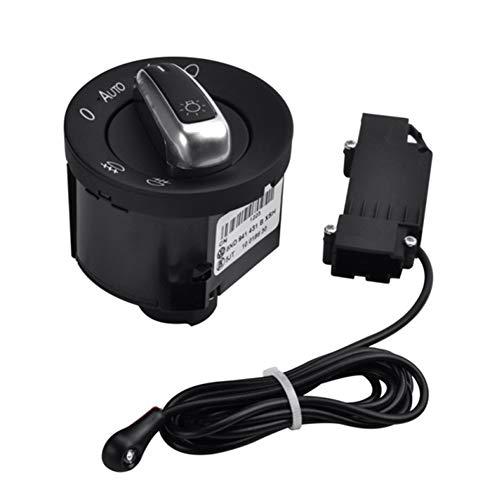 Lanceasy Interruptor de la luz del Coche con el Sensor automático de luz Chrome 5ND941431B para Golf5 Tuguan Passat B6