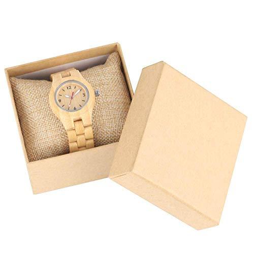 LYMUP Reloj de Madera Reloj de Madera Natural de Cuarzo para Mujeres Correa de Madera Hecha a Mano Conciso Pequeño Dial Reloj Punteros Luminoso Reloj de Pulsera,Vapor (Color : with Box a)