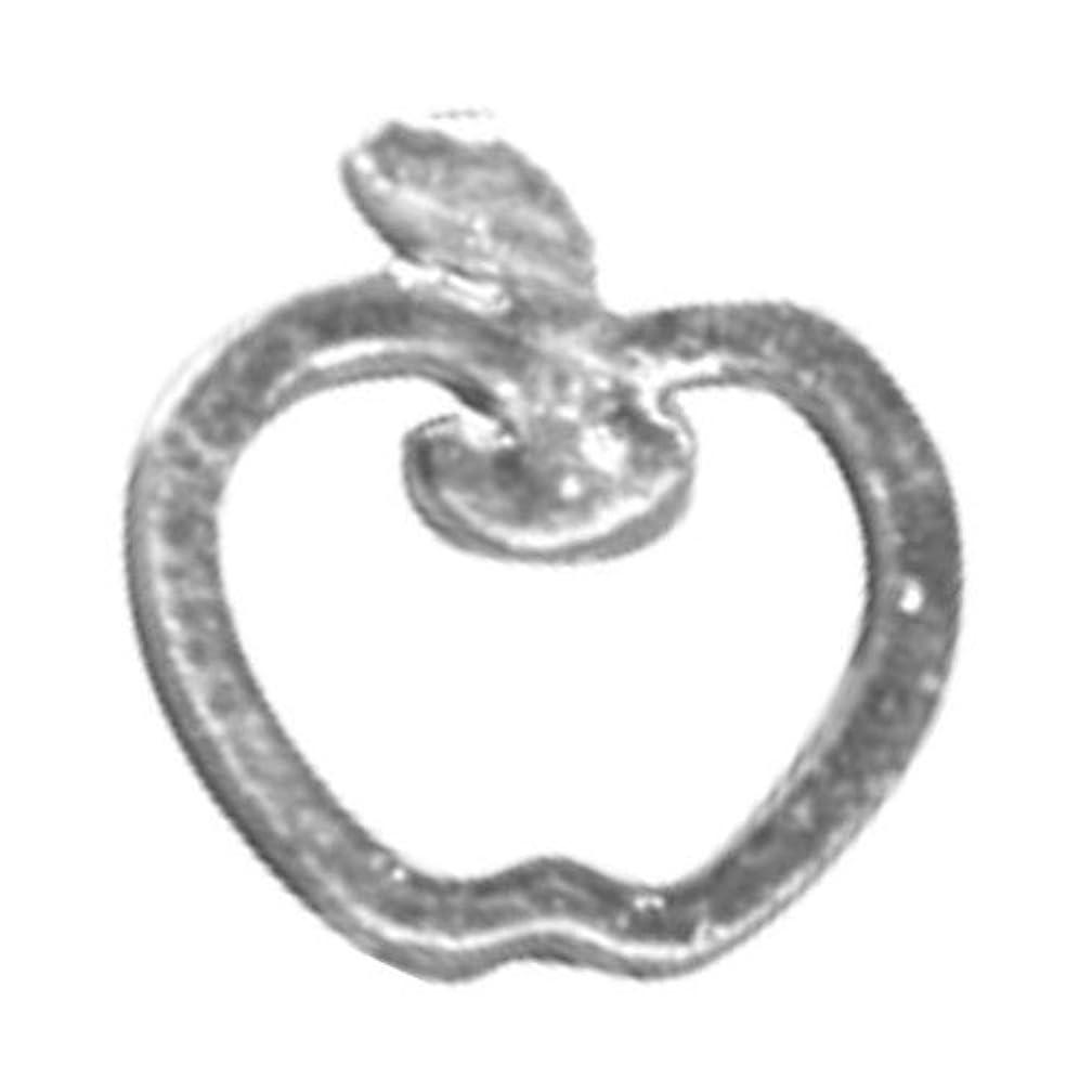重量準備するショルダーリトルプリティー ネイルアートパーツ リンゴ SS シルバー 10個