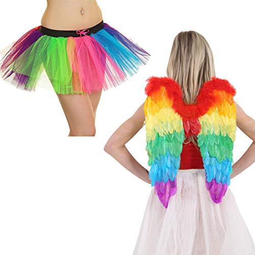 FashioN HuB Falda tut para mujer, diseo de alas de ngel arcoris de 3 capas, talla nica