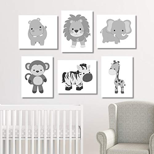 NNNNOOO Lot de 6 Toiles de décoration Monochrome pour Chambre d'enfant Motif Girafe et Zoo