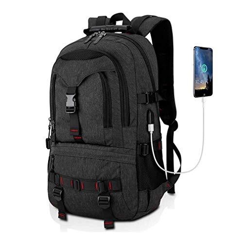Faukku Laptop-Rucksack mit Diebstahlschutz, mit USB-Anschluss, wasserabweisend, für Reisen, Freizeit, für Wandern, Camping, Bergsteigen, Grau