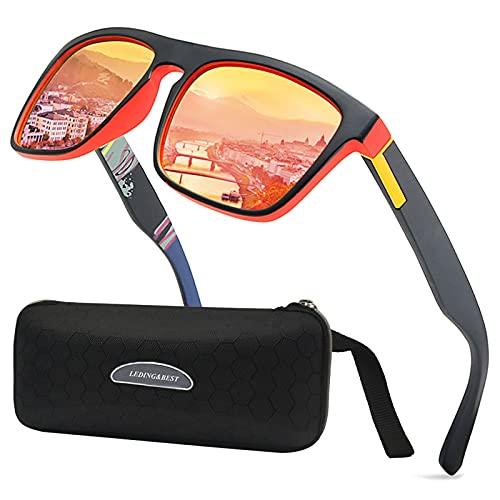 LEDING&BEST Sonnenbrille für Herren Damen Polarisierte/Radfahren Golfen Fahren Angeln Klettern Vintage-Brille Outdoor-Sportarten Strand Sonnenbrillen (A/Red)