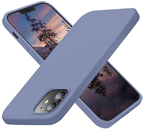 Cordking Designed for iPhone 12 Pro Case, Designed for iPhone 12 Case, Silicone Ultral Slim Phone Case with [Soft Anti-Scratch Microfiber Lining] 6.1 inch, Lavender Gray