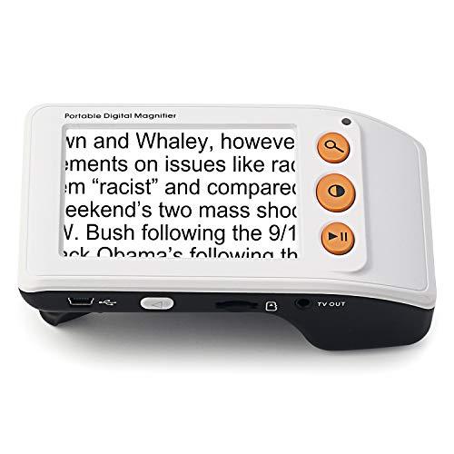 Digital Video Magnifier, 3.5 Zoll Handportable Mobile Elektronische Lesehilfe Leselupen für sehbehinderte, Senioren, Makuladegeneration, Menschen mit hoher Kurzsichtigkeit(Weiß)
