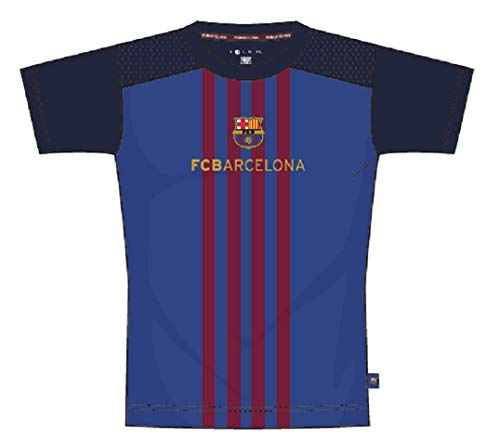 FCB Maglia Barcellona Ufficiale T-Shirt Barcelona Uomo Adulto TSPOLFCB (cm:Spalle 43,Torace 51,Lunghezza 69-S)