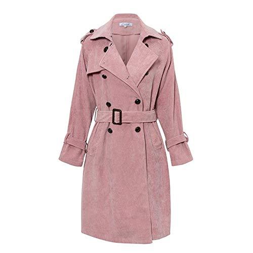 WHBDFY Marke Rosa Cord Lange Trenchcoat Frauen Mantel Gürtel Krawatte High Fashion Herbst Winter Windjacke Doppelbrust Mäntel Gräben S Rosa