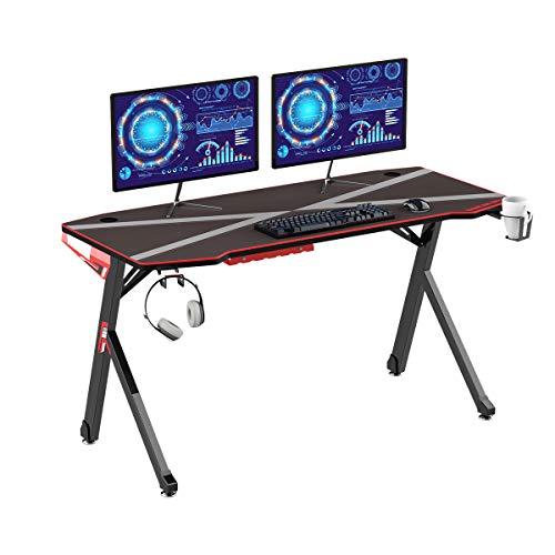 DlandHome - Scrivania da gaming da 139,7 cm, con tappetino per mouse completamente coperto, gancio per cuffie, portabicchieri e gestione dei cavi, ergonomici e moderni, colore: nero