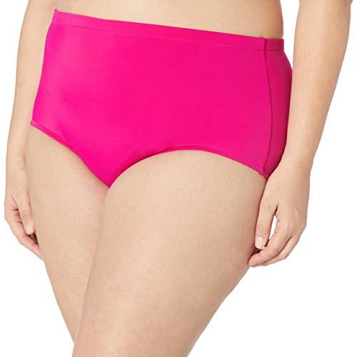 Maxine Of Hollywood Women's Plus Size High Waist Hipster Bikini Swimsuit Bottom, Fuchsia, 18W