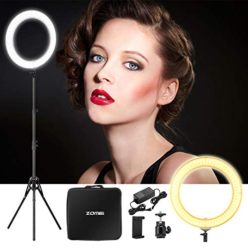 """ZOMEi 18"""" Dimmable LED Ring Light, 5500k Output YouTube Video and Makeup Ring Light with Stand, Plastic Diffuser with Portable Carrying Bag"""