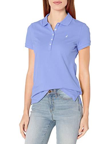 Nautica Women's 5-Button Short Sleeve Breathable 100% Cotton Polo Shirt, Deep Peri, X-Small