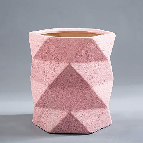 Thwarm, extra grote Europese keramische bloempot designer Origami container plant patio pot keramiek vetplant bloempotten met onderzetter voor balkon kantoor vloer, 20 * 24cm, Roze
