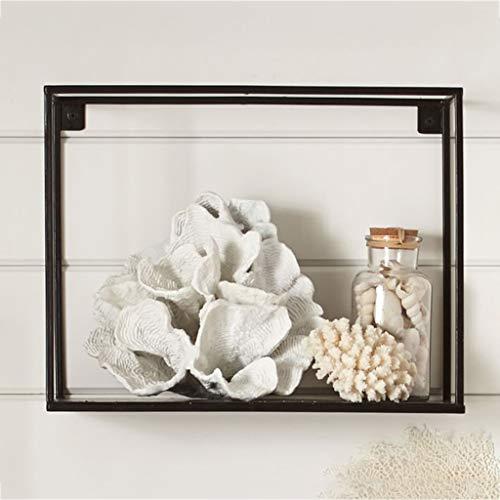 Boîtes d'ombre de cadre de fil en métal flottant modernes d'étagères, étagère décorative simple de mur de cube en fil de fer (Couleur : NOIR, taille : 30 * 20 * 25cm)