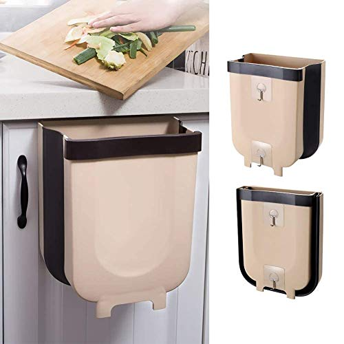 Foldable Trash Bin Hanging Waste Bin Under Kitchen Sink,Wall Trash Can Plastic Wastebasket Over Cabinet Door with Top Ring to Fix Garbage Bag (Gray)