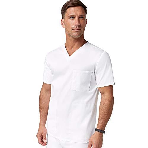 Jaanuu Men's Medical Uniform Scrub V-Neck 3 Pocket Top W/Stretch Fabric | Male Fashion Workwear Clothing for Nurse or Doctor with ForminaFlex Fabric | 1X White (Apparel)