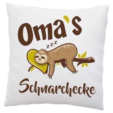 Deko Kissen Faultier Omas Schnarchecke Geschenk Polyester Weiß Oma Weihnachten