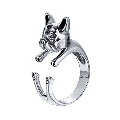 SILVERCUTE Hund Form Ring Damen Silber 3D Stil Französische Bulldogge Offener Ring 925 Sterlingsilber verstellbar Tier Schmuck für Mädchen Geburtstag Weihnachten Geschenk