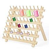 LIANTRAL 60 bobine per filo da cucito in legno, organizer per fili con gancio da appendere, supporto da parete pieghevole per cucito, ricamo, trapuntatura
