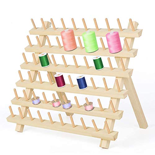 LIANTRAL 60 Spulen Nähgarnständer aus Holz, Fadenhalter-Organizer mit Hängenden Haken, Zusammenklappbarer Wandhalterung Zum Nähen, Sticken, Quilten