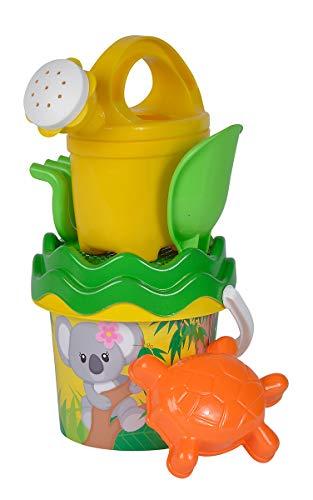 Simba 107114509 - Koala Baby-Eimergarnitur, 6 Teile, Eimer, Sieb, Sandform, Schaufel, Rechen, Gießkanne, Höhe 11cm, Durchmesser 14cm, Sandkasten, Sandspielzeug