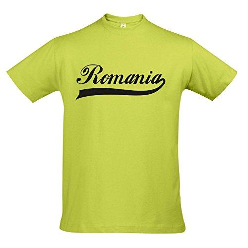 T-Shirt - Romania Oldschool Rumänien LÄNDERSHIRT EM/WM Fan Trikot S-XXL, Apple Green - schwarz, S