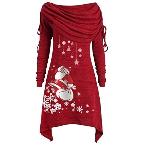 Xiangdanful Weihnachtspullover Damen Unregelmäßig Schulterfreie Hoodie Lange Pullis Longpullover Sweatshirt Weihnachten Tunika Santa Claus Schneeflocke Cowl Neck Winterpullover (XL, Rot)